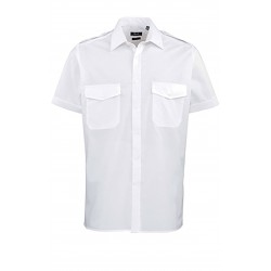 CHEMISE BLANCHE HOMME PILOTE MANCHES COURTES