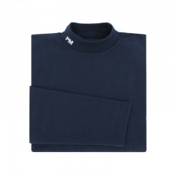 SOUS PULL MARINE COL MONTANT BRODERIE BLANCHE PM